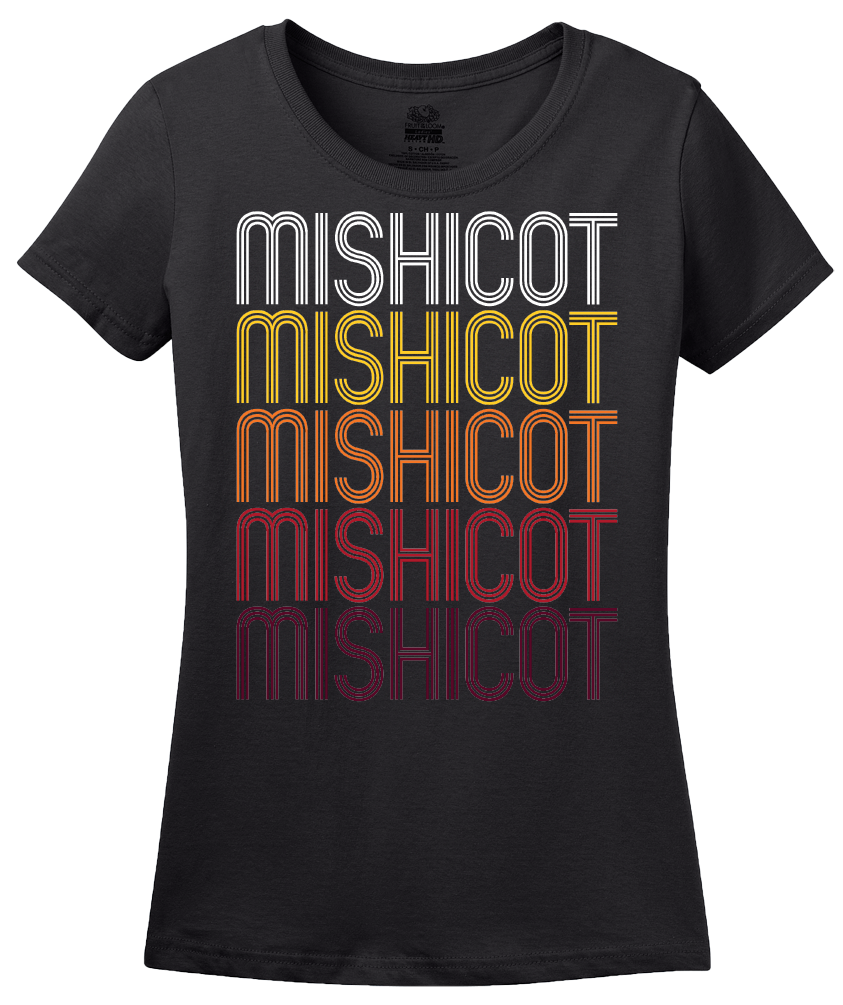 Ladies Black Mishicot, WI | Retro, Vintage Style Wisconsin Pride  T-shirt