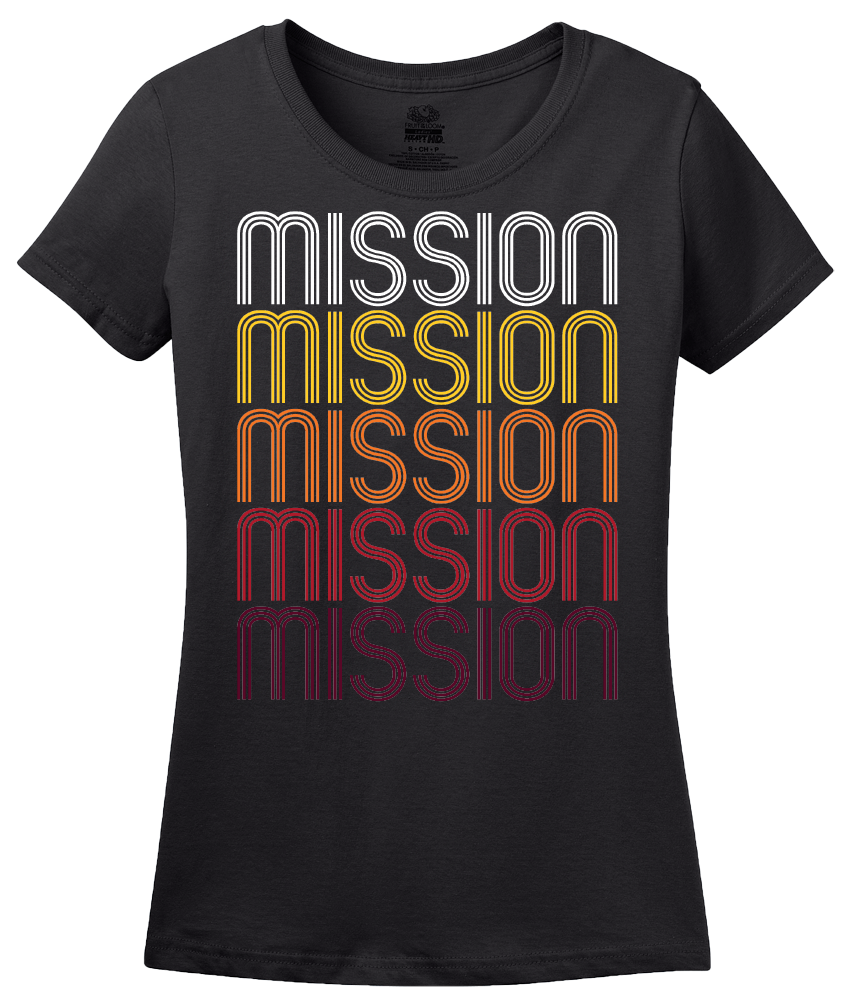 Ladies Black Mission, KS | Retro, Vintage Style Kansas Pride  T-shirt