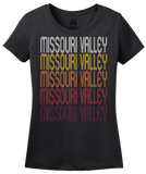Ladies Black Missouri Valley, IA | Retro, Vintage Style Iowa Pride  T-shirt