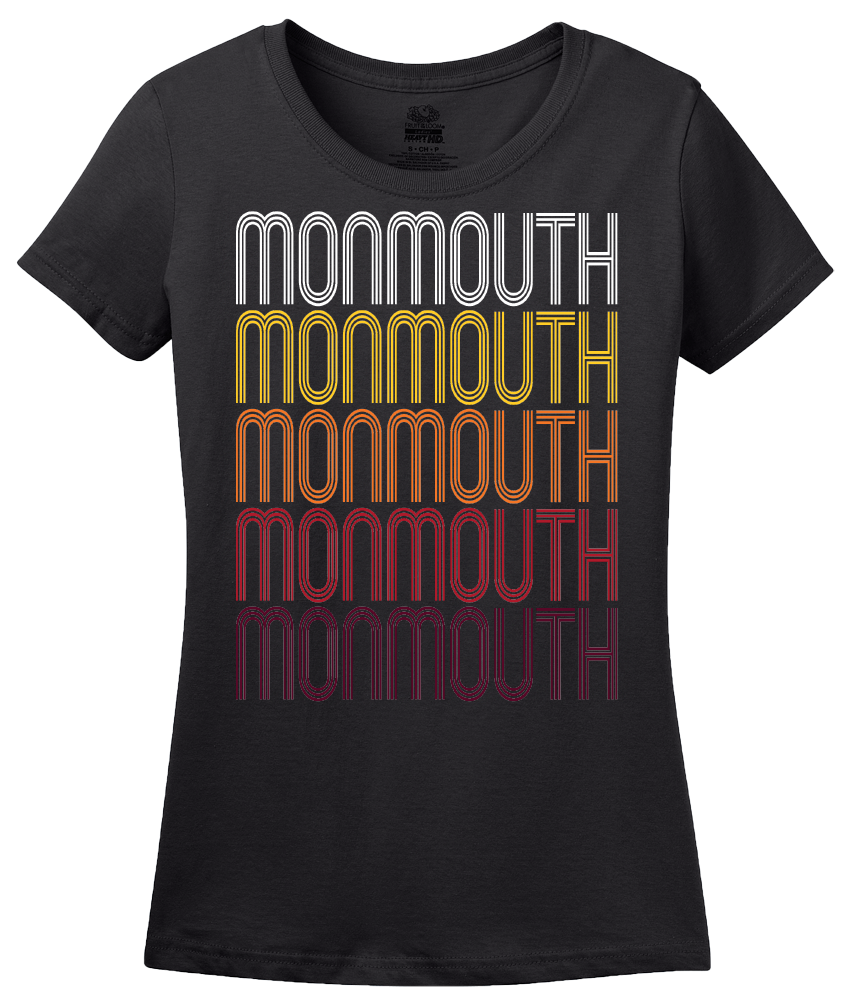 Ladies Black Monmouth, OR | Retro, Vintage Style Oregon Pride  T-shirt