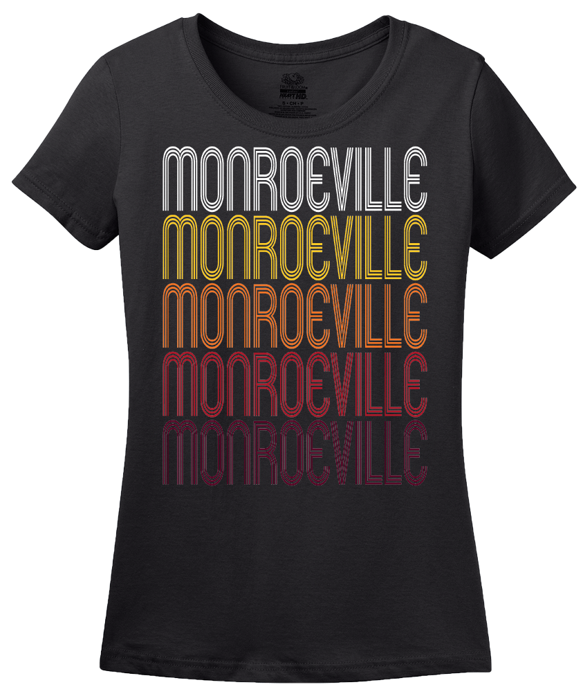 Ladies Black Monroeville, PA | Retro, Vintage Style Pennsylvania Pride  T-shirt