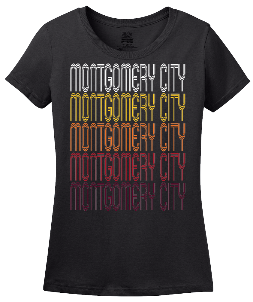 Ladies Black Montgomery City, MO | Retro, Vintage Style Missouri Pride  T-shirt