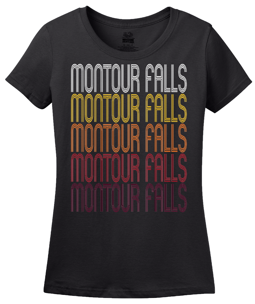 Ladies Black Montour Falls, NY | Retro, Vintage Style New York Pride  T-shirt