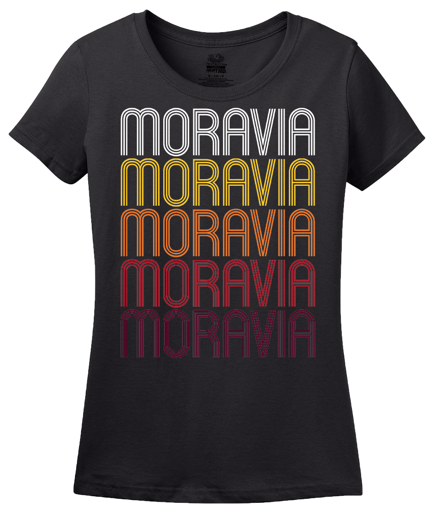 Ladies Black Moravia, NY | Retro, Vintage Style New York Pride  T-shirt