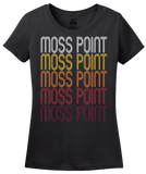 Ladies Black Moss Point, MS | Retro, Vintage Style Mississippi Pride  T-shirt