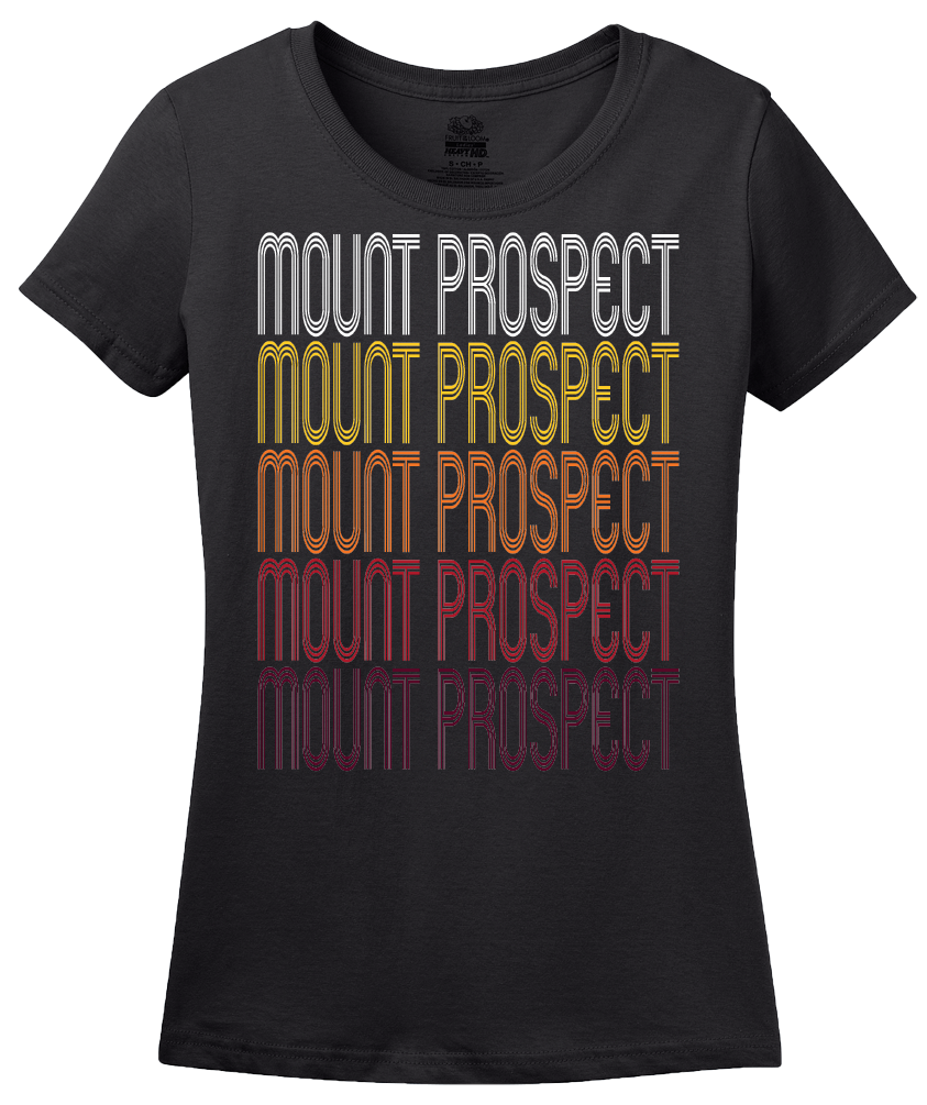 Ladies Black Mount Prospect, IL | Retro, Vintage Style Illinois Pride  T-shirt