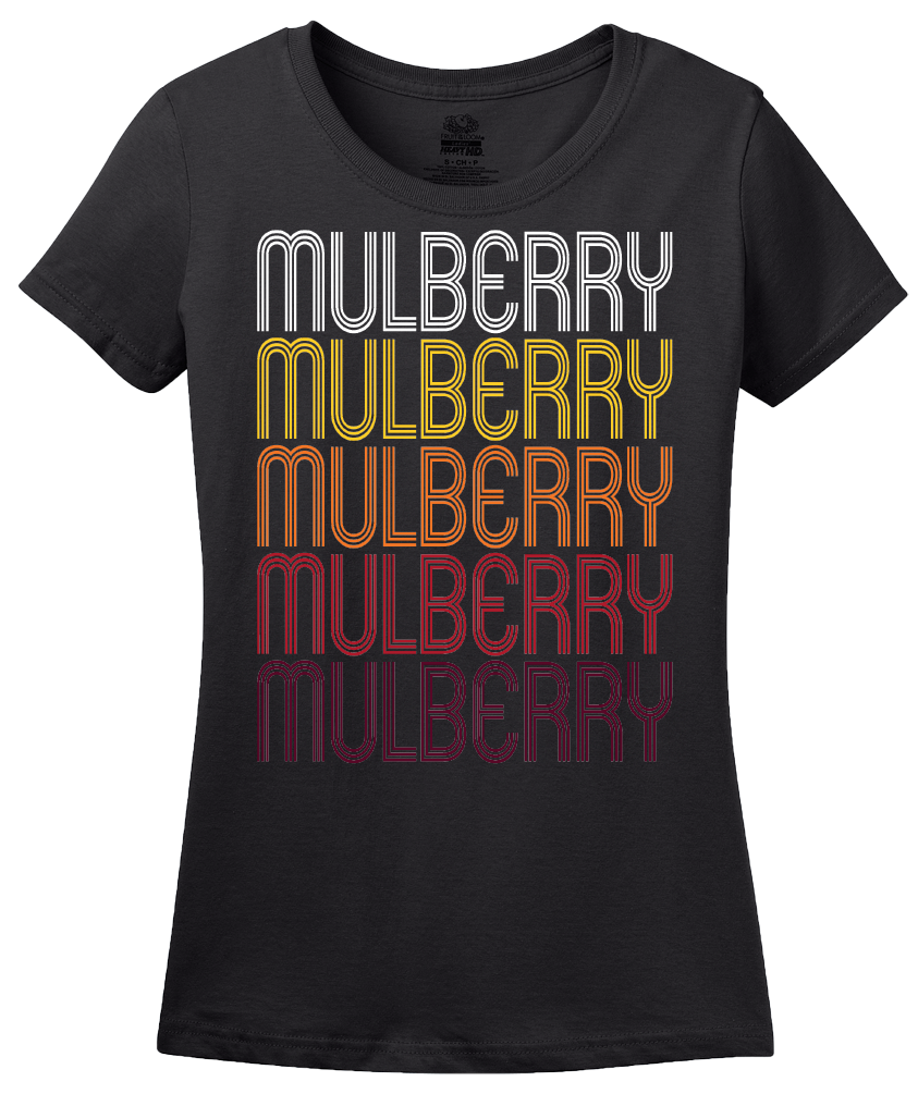 Ladies Black Mulberry, AR | Retro, Vintage Style Arkansas Pride  T-shirt