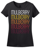 Ladies Black Mulberry, IN | Retro, Vintage Style Indiana Pride  T-shirt