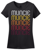 Ladies Black Muncie, IN | Retro, Vintage Style Indiana Pride  T-shirt