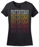 Ladies Black Muttontown, NY | Retro, Vintage Style New York Pride  T-shirt