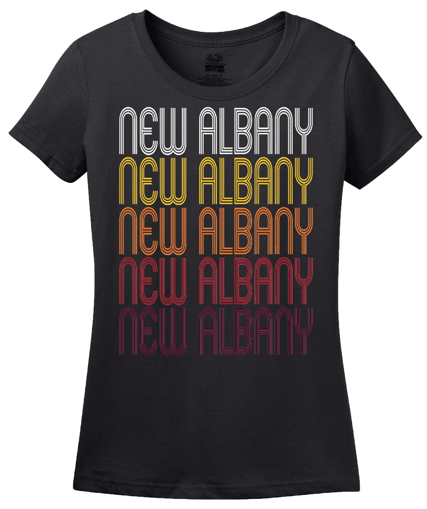 Ladies Black New Albany, OH | Retro, Vintage Style Ohio Pride  T-shirt