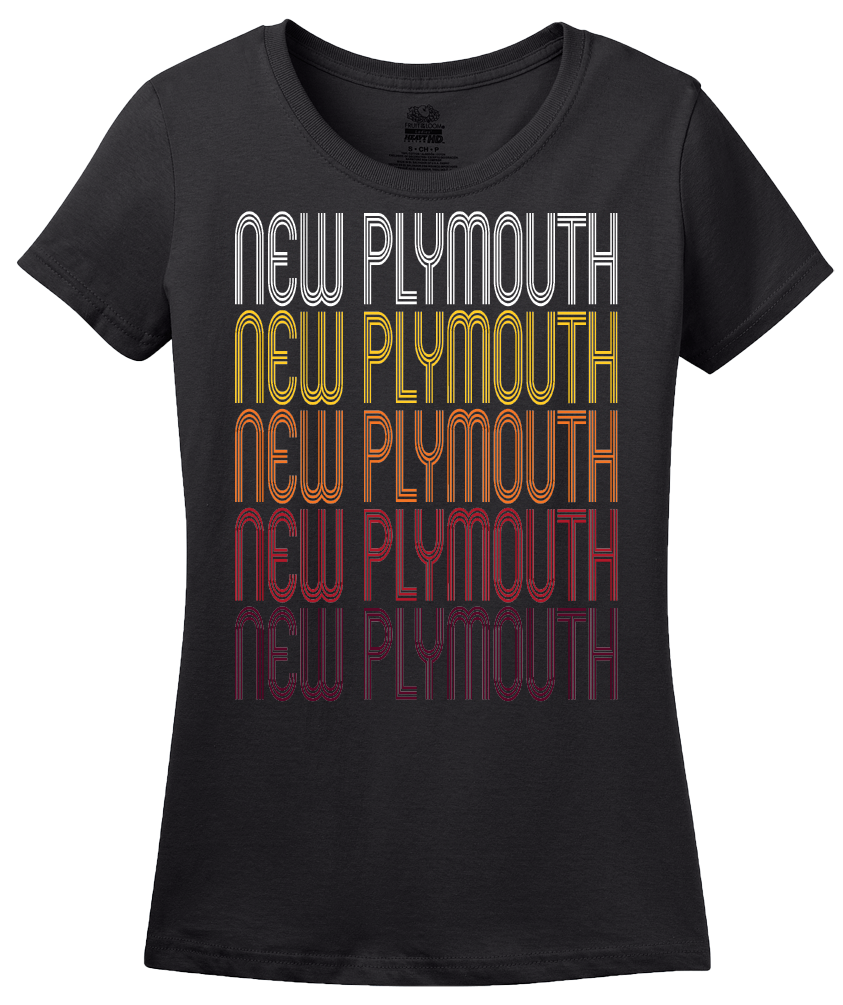 Ladies Black New Plymouth, ID | Retro, Vintage Style Idaho Pride  T-shirt