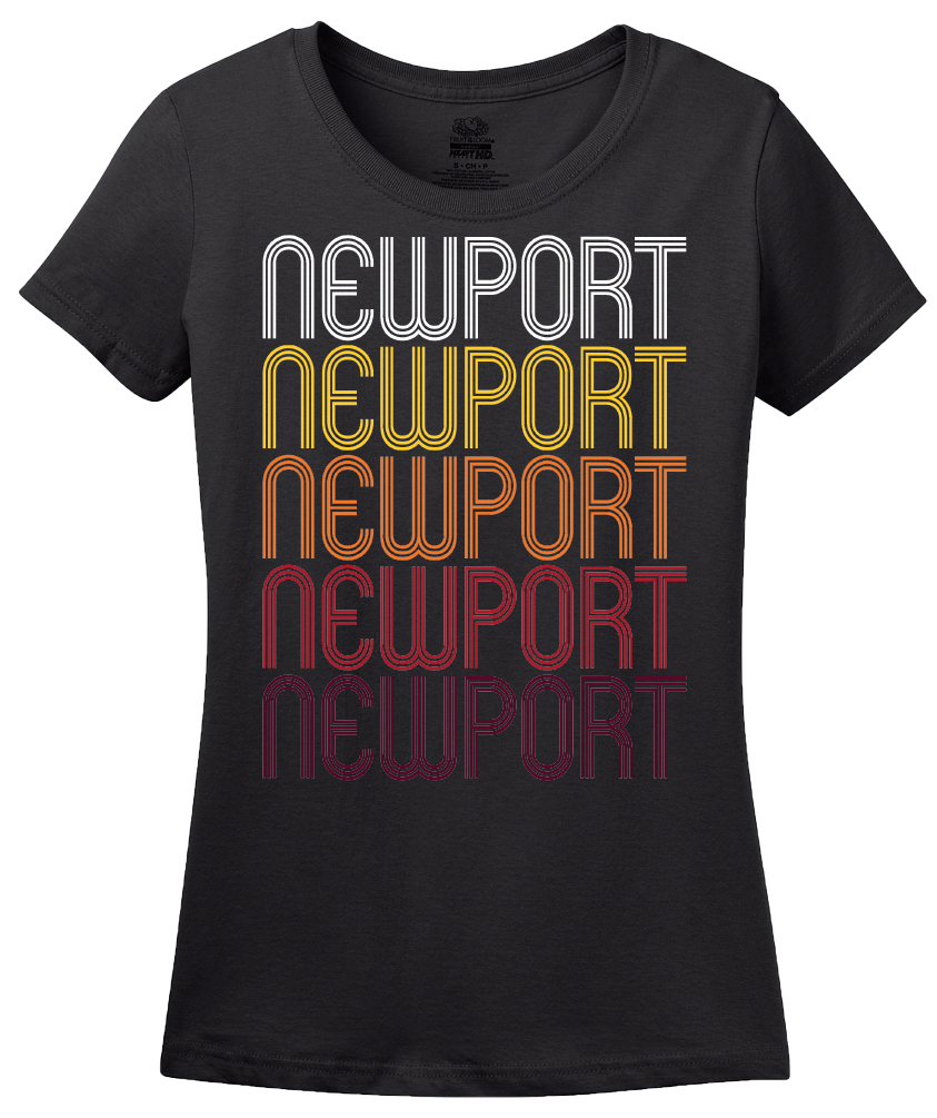 Ladies Black Newport, WA | Retro, Vintage Style Washington Pride  T-shirt