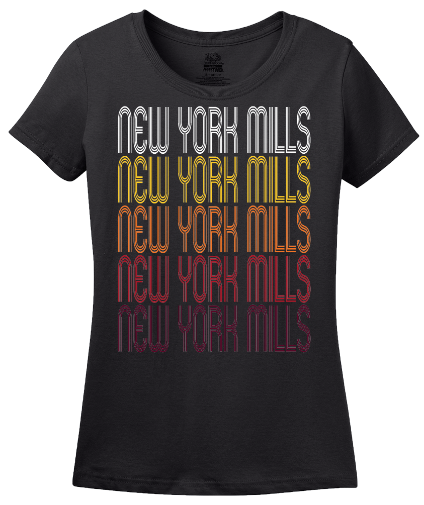Ladies Black New York Mills, NY | Retro, Vintage Style New York Pride  T-shirt