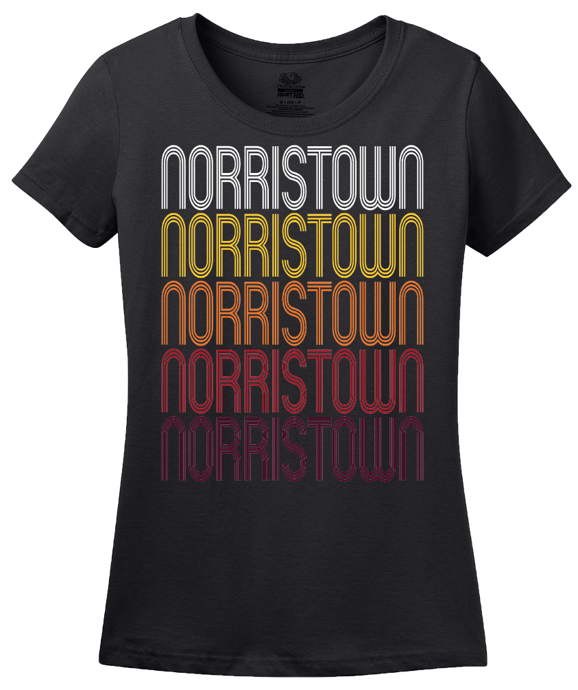 Ladies Black Norristown, PA | Retro, Vintage Style Pennsylvania Pride  T-shirt