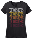 Ladies Black Norton Shores, MI | Retro, Vintage Style Michigan Pride  T-shirt