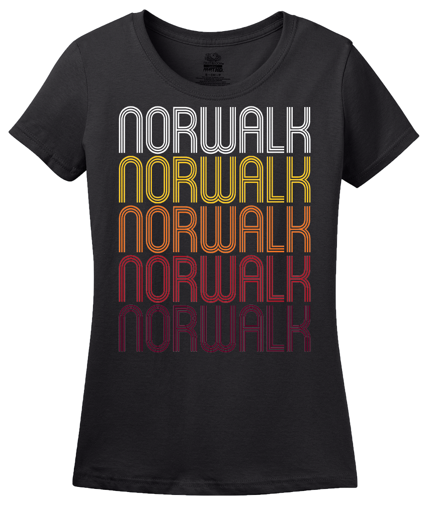 Ladies Black Norwalk, CT | Retro, Vintage Style Connecticut Pride  T-shirt