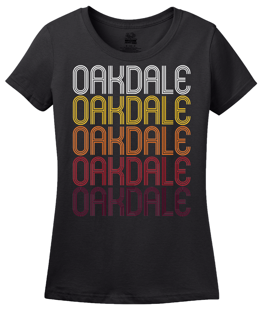 Ladies Black Oakdale, CA | Retro, Vintage Style California Pride  T-shirt