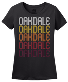 Ladies Black Oakdale, MN | Retro, Vintage Style Minnesota Pride  T-shirt