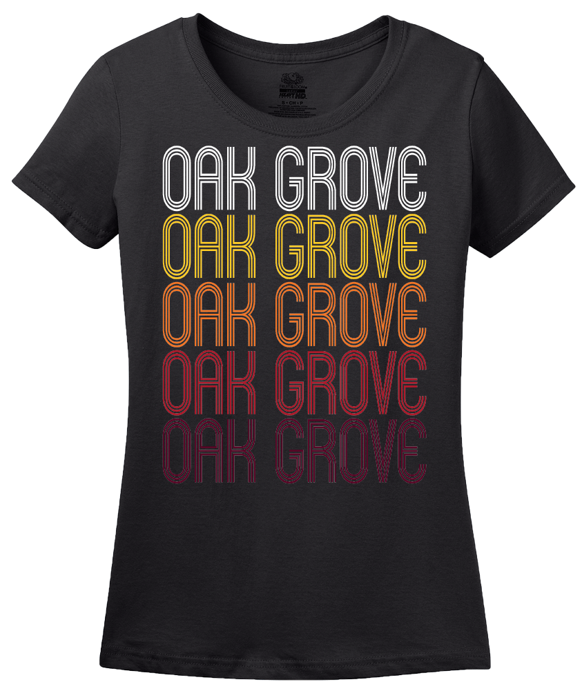 Ladies Black Oak Grove, MO | Retro, Vintage Style Missouri Pride  T-shirt