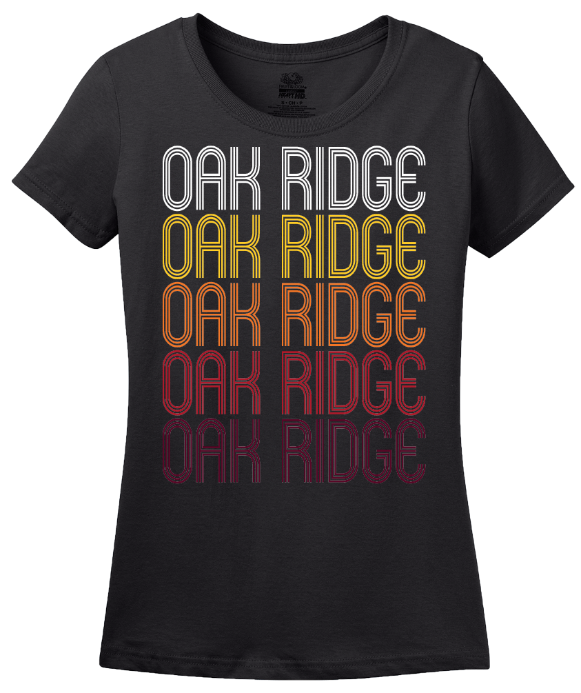 Ladies Black Oak Ridge, TN | Retro, Vintage Style Tennessee Pride  T-shirt