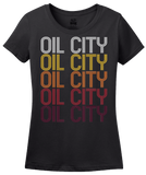 Ladies Black Oil City, LA | Retro, Vintage Style Louisiana Pride  T-shirt