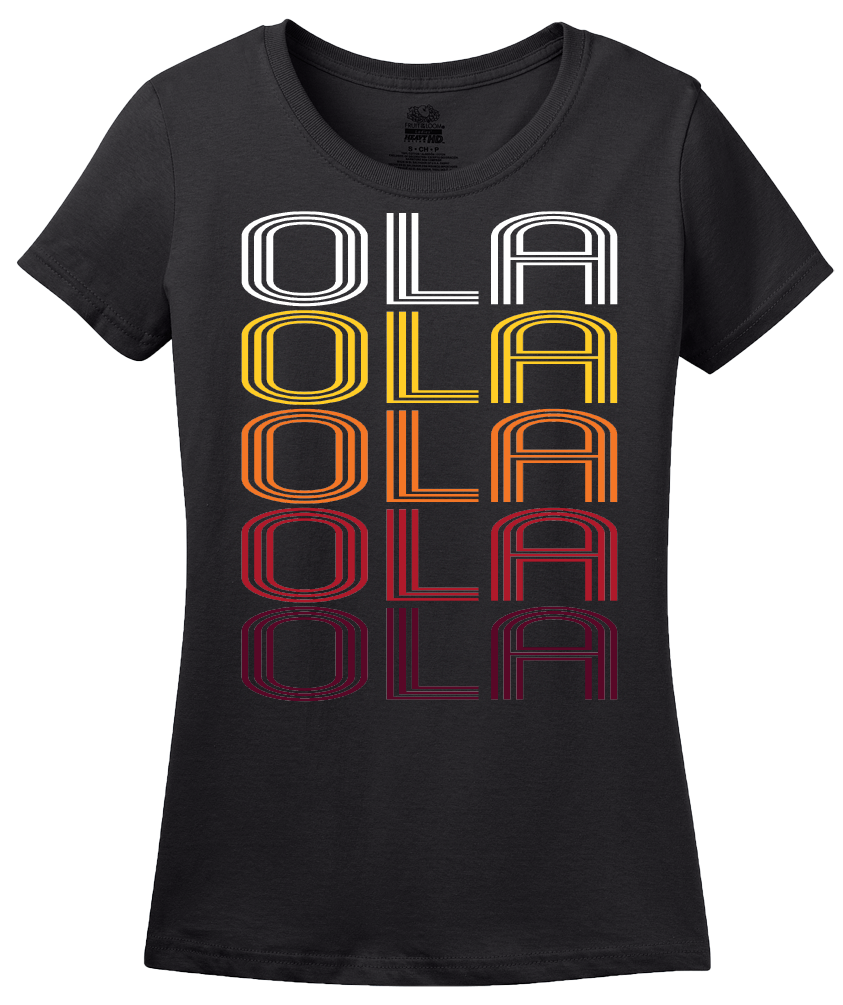 Ladies Black Ola, AR | Retro, Vintage Style Arkansas Pride  T-shirt