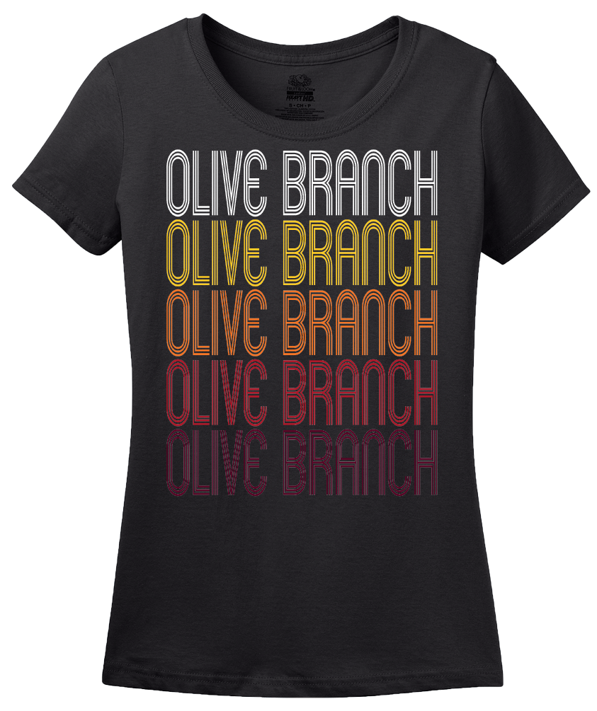 Ladies Black Olive Branch, MS | Retro, Vintage Style Mississippi Pride  T-shirt