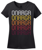 Ladies Black Onarga, IL | Retro, Vintage Style Illinois Pride  T-shirt