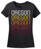 Ladies Black Oregon, WI | Retro, Vintage Style Wisconsin Pride  T-shirt