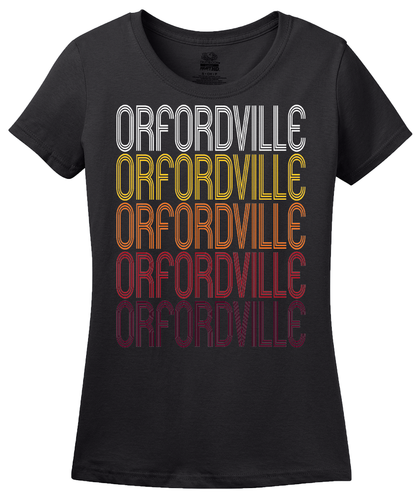Ladies Black Orfordville, WI | Retro, Vintage Style Wisconsin Pride  T-shirt