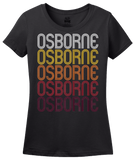 Ladies Black Osborne, KS | Retro, Vintage Style Kansas Pride  T-shirt