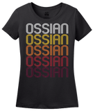 Ladies Black Ossian, IN | Retro, Vintage Style Indiana Pride  T-shirt