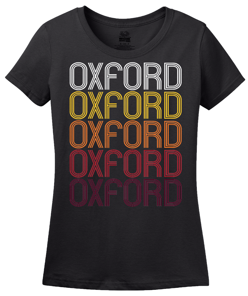 Ladies Black Oxford, KS | Retro, Vintage Style Kansas Pride  T-shirt