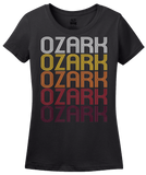 Ladies Black Ozark, MO | Retro, Vintage Style Missouri Pride  T-shirt