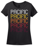 Ladies Black Pacific, WA | Retro, Vintage Style Washington Pride  T-shirt