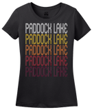 Ladies Black Paddock Lake, WI | Retro, Vintage Style Wisconsin Pride  T-shirt