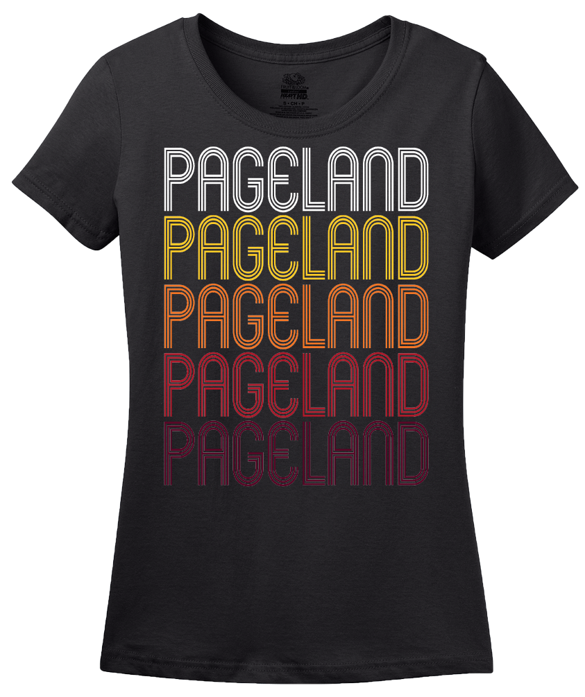 Ladies Black Pageland, SC | Retro, Vintage Style South Carolina Pride  T-shirt