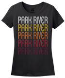 Ladies Black Park River, ND | Retro, Vintage Style North Dakota Pride  T-shirt