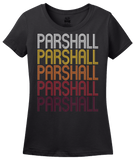 Ladies Black Parshall, ND | Retro, Vintage Style North Dakota Pride  T-shirt