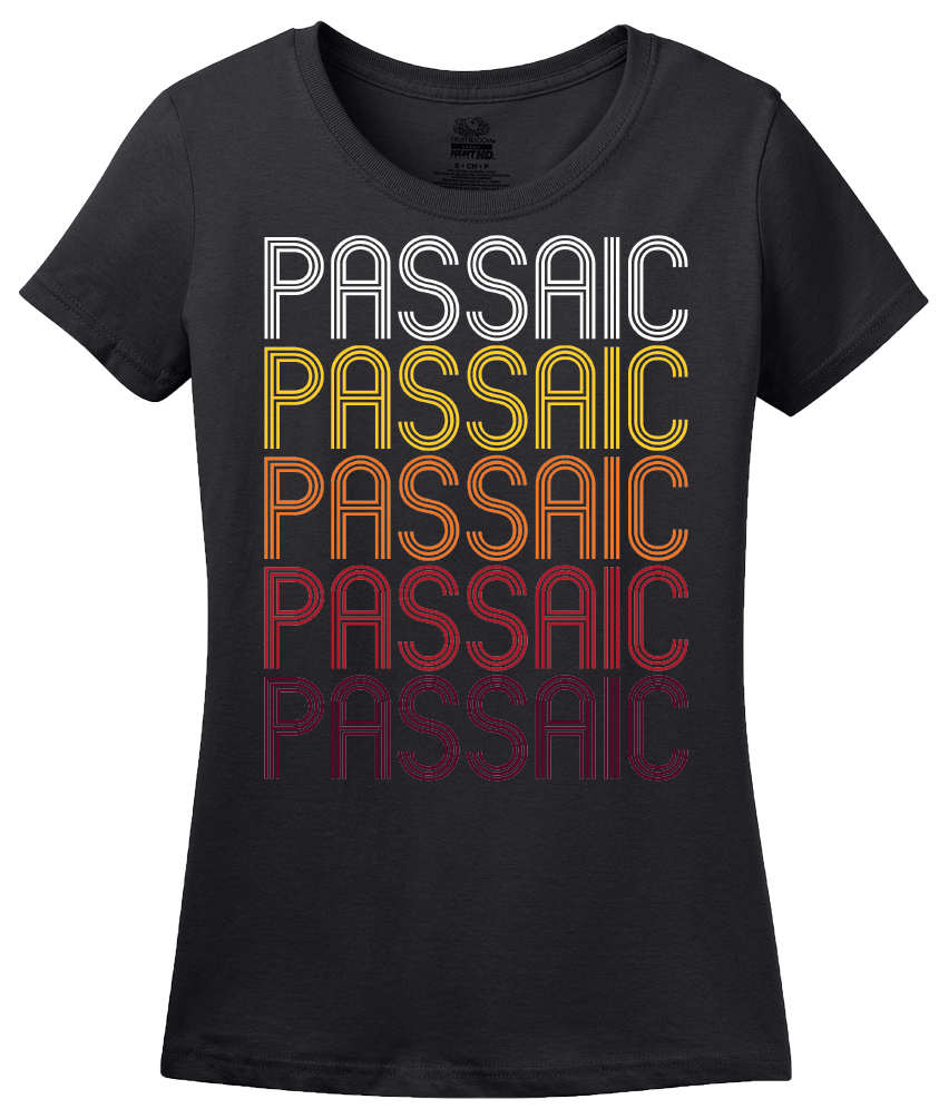 Ladies Black Passaic, NJ | Retro, Vintage Style New Jersey Pride  T-shirt
