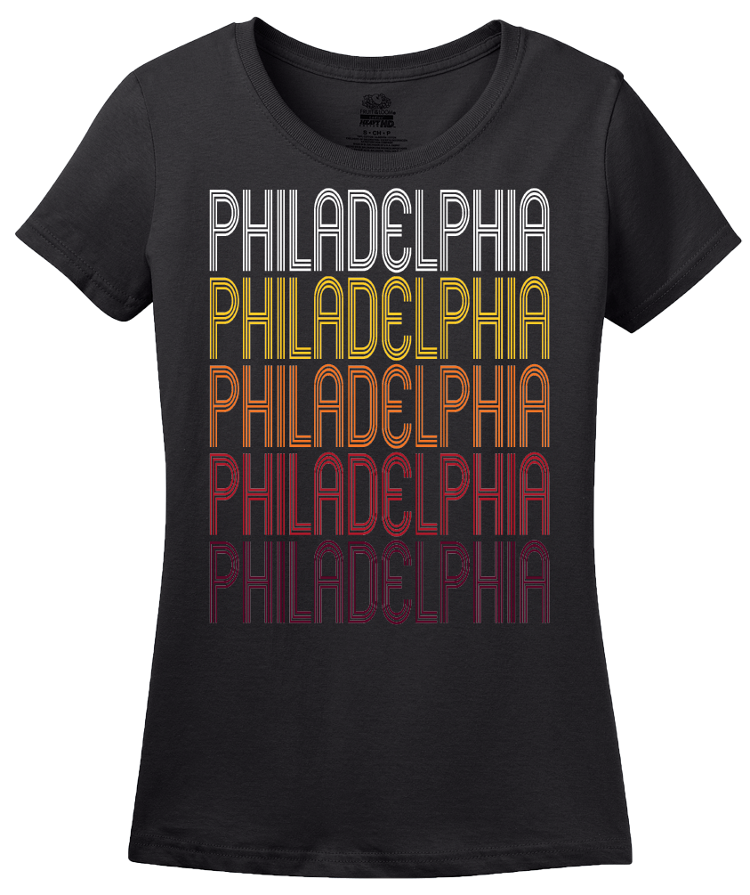 Ladies Black Philadelphia, PA | Retro, Vintage Style Pennsylvania Pride  T-shirt