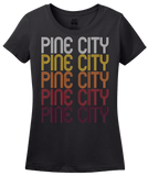 Ladies Black Pine City, MN | Retro, Vintage Style Minnesota Pride  T-shirt