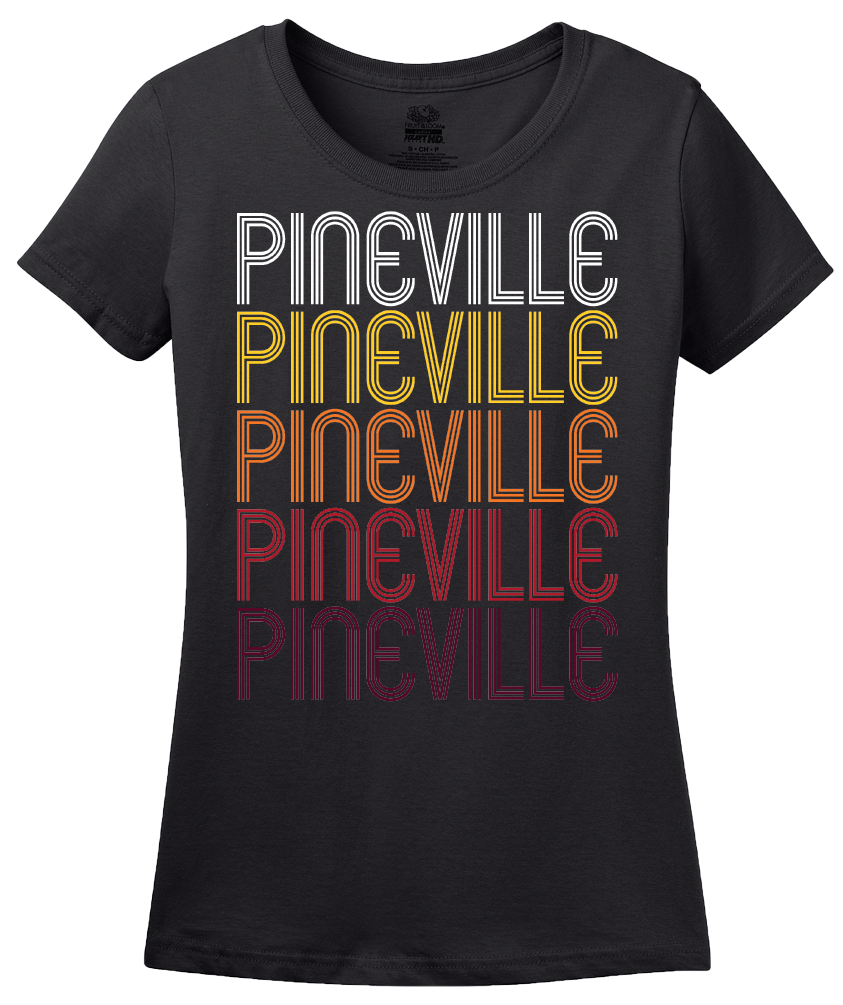 Ladies Black Pineville, NC | Retro, Vintage Style North Carolina Pride  T-shirt