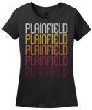 Ladies Black Plainfield, IN | Retro, Vintage Style Indiana Pride  T-shirt