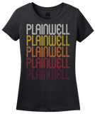 Ladies Black Plainwell, MI | Retro, Vintage Style Michigan Pride  T-shirt