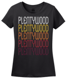 Ladies Black Plentywood, MT | Retro, Vintage Style Montana Pride  T-shirt