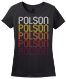 Ladies Black Polson, MT | Retro, Vintage Style Montana Pride  T-shirt