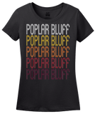 Ladies Black Poplar Bluff, MO | Retro, Vintage Style Missouri Pride  T-shirt