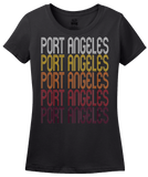 Ladies Black Port Angeles, WA | Retro, Vintage Style Washington Pride  T-shirt